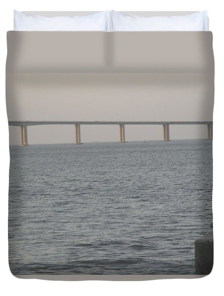 Tagus River Seen From The Park Of Nations In Lisbon Duvet Cover by Anamarija Marinovic