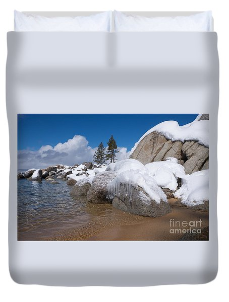 Duvet Cover featuring the photograph Tahoe Icicles by Vinnie Oakes