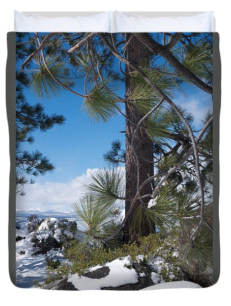 Tahoe Pines In Winter Duvet Cover by Vinnie Oakes