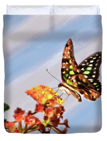 Tail Jay On Scarlet Milkweed Duvet Cover