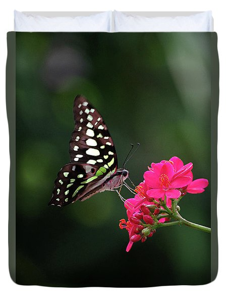 Tailed Jay Butterfly -graphium Agamemnon- On Pink Flower Duvet Cover
