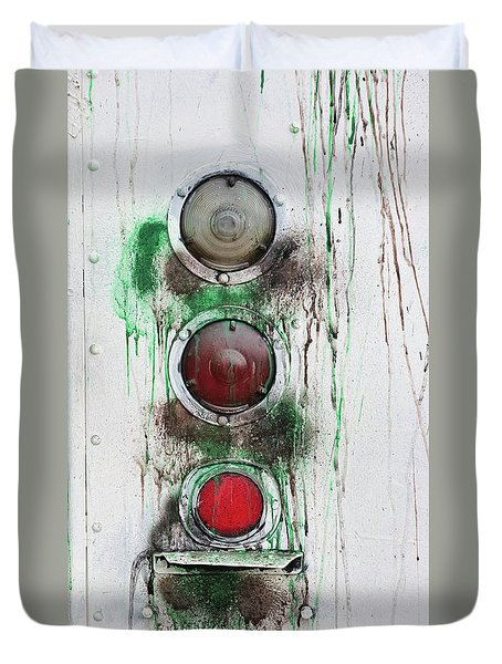 Duvet Cover featuring the photograph Taillights On A Very Old Bus by Gary Slawsky