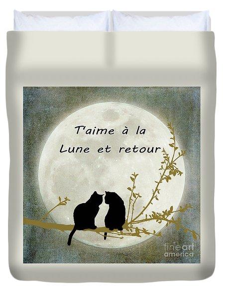 Duvet Cover featuring the digital art T'aime A La Lune Et Retour by Linda Lees