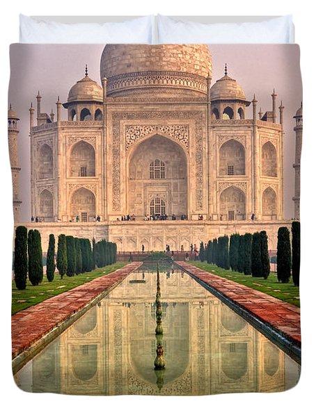 Taj Mahal At Sunrise Duvet Cover by Luciano Mortula