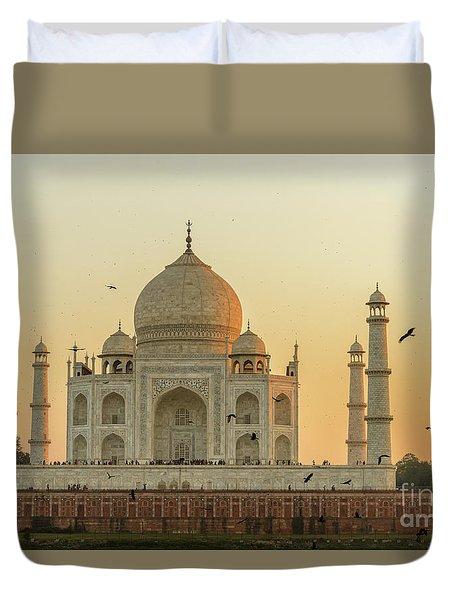 Taj Mahal At Sunset 01 Duvet Cover