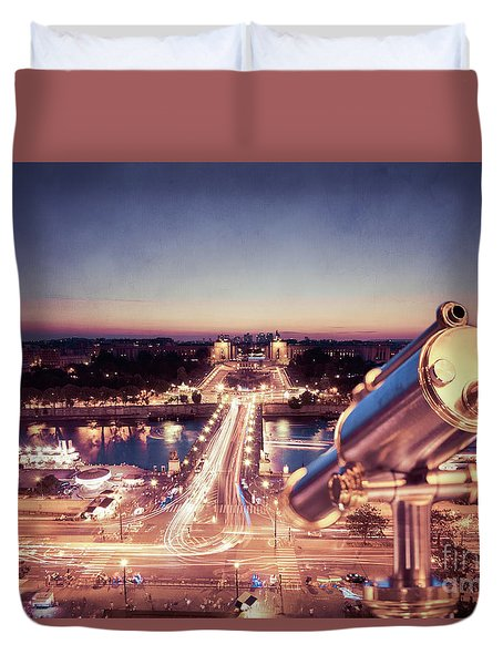 Duvet Cover featuring the photograph Take A Look At Paris by Hannes Cmarits