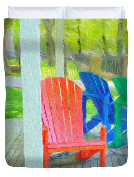 Take A Seat But Don't Take A Chair Duvet Cover by Jeff Kolker