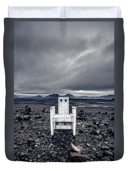 Duvet Cover featuring the photograph Take A Seat Iceland by Edward Fielding