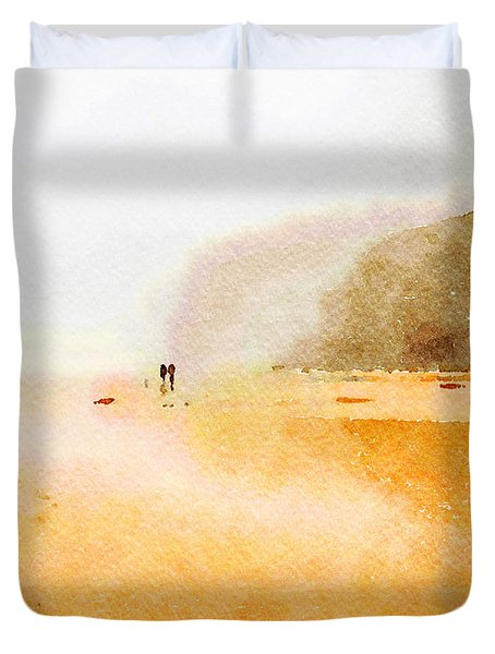 Duvet Cover featuring the painting Take A Walk With Me by Angela Treat Lyon