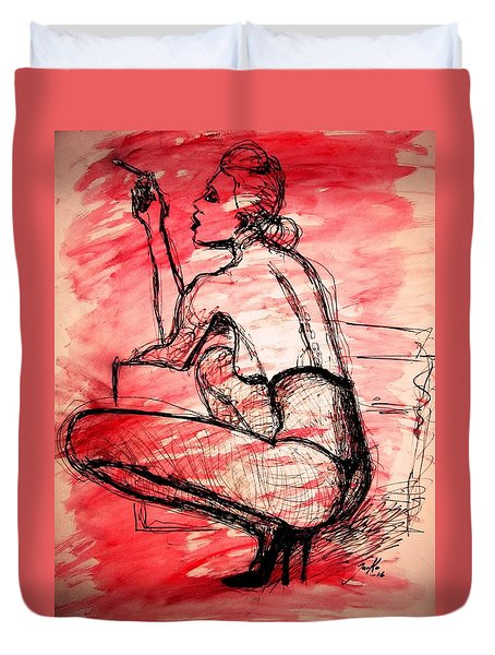 Duvet Cover featuring the painting Take Five  by Jarko Aka Lui Grande