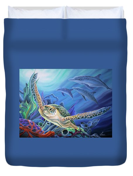 Duvet Cover featuring the painting Taking Flight by William Love
