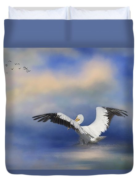 Duvet Cover featuring the photograph Take Off By The Sea by Kim Hojnacki