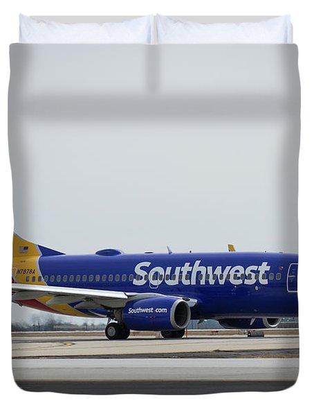 Take Off Southwest Airlines N7878a Hartsfield-jackson Atlanta International Airport Art Duvet Cover