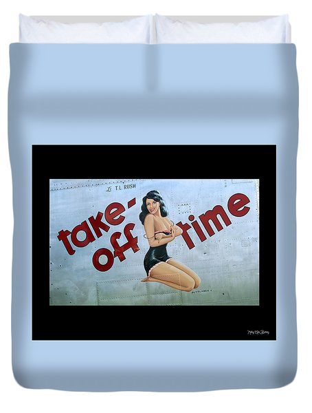 Duvet Cover featuring the photograph Take-off Time by Kathy Barney