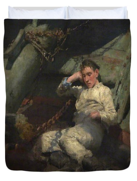 Duvet Cover featuring the painting Taking A Spell  by Henry Scott Tuke