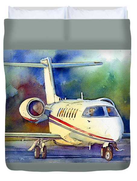 Duvet Cover featuring the painting Taking Flight by Andrew King
