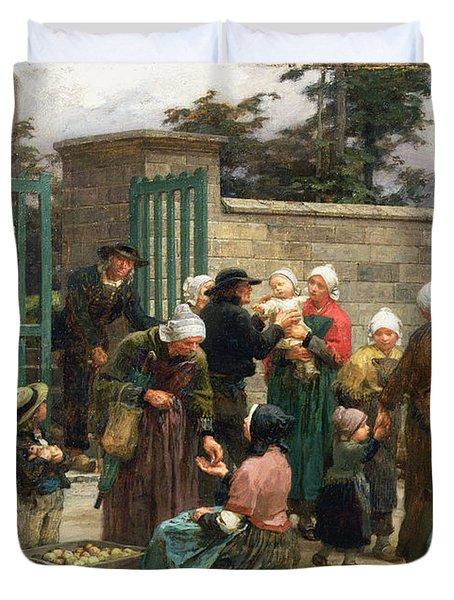 Taking In Foundlings Duvet Cover by Leon Augustin Lhermitte