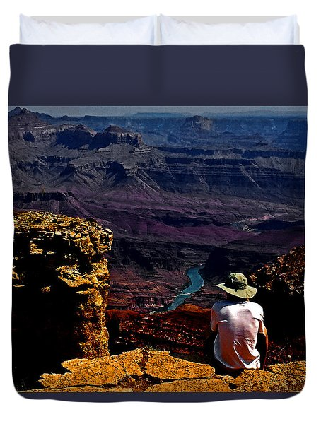 Duvet Cover featuring the photograph Taking In The View - Grand Canyon South Rim by George Bostian