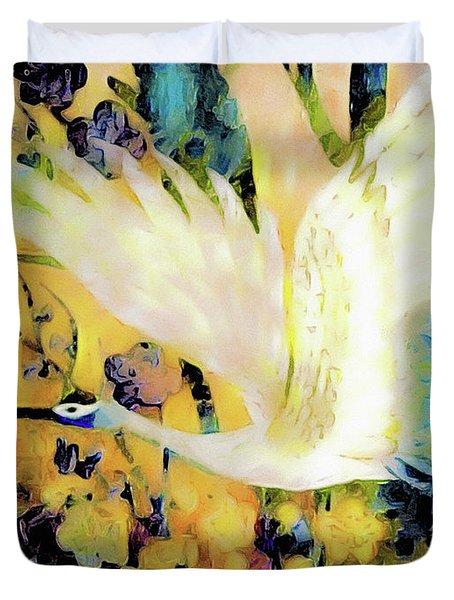Taking Wing Above The Garden - Kimono Series Duvet Cover