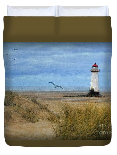 Duvet Cover featuring the digital art Talacre Lighthouse - Wales by Lianne Schneider