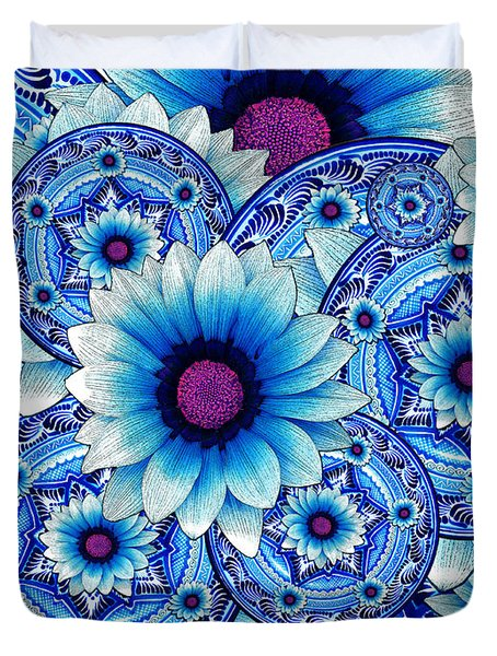 Duvet Cover featuring the mixed media Talavera Alejandra by Christopher Beikmann