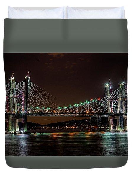 Tale Of 2 Bridges At Night Duvet Cover
