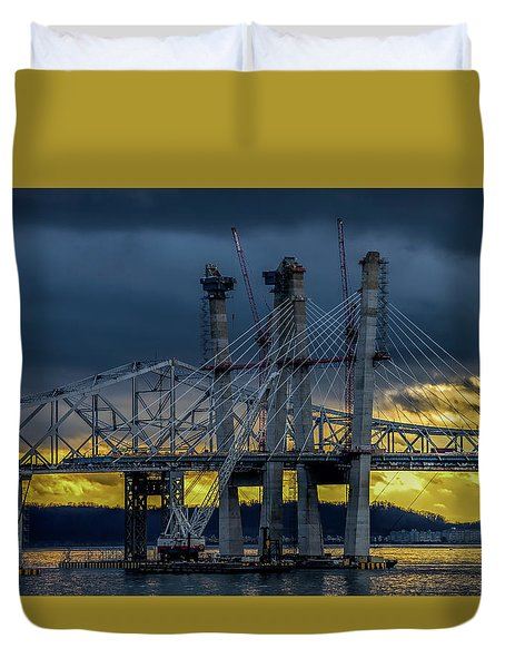Tale Of 2 Bridges At Sunset Duvet Cover by Jeffrey Friedkin