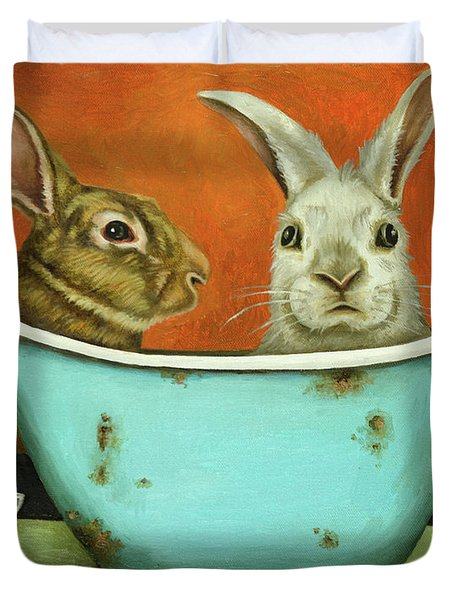 Duvet Cover featuring the painting Tale Of Two Bunnies by Leah Saulnier The Painting Maniac