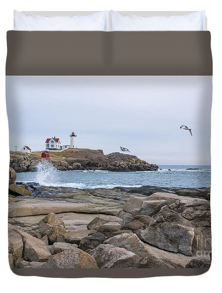 Tale Of Two Lighthouse Duvet Cover by Patrick Fennell