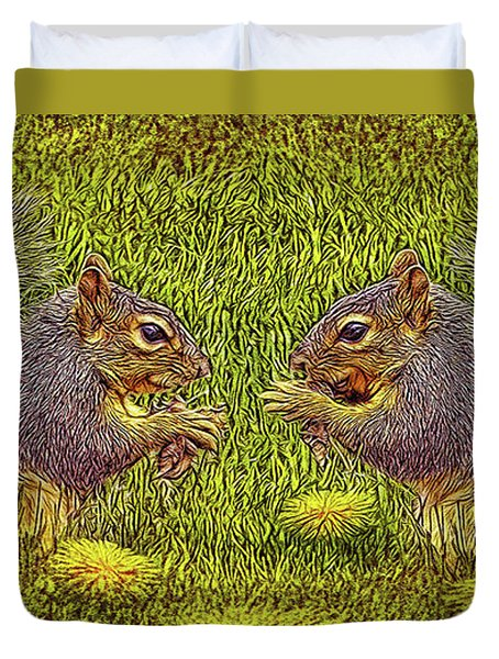 Tale Of Two Squirrels Duvet Cover by Joel Bruce Wallach