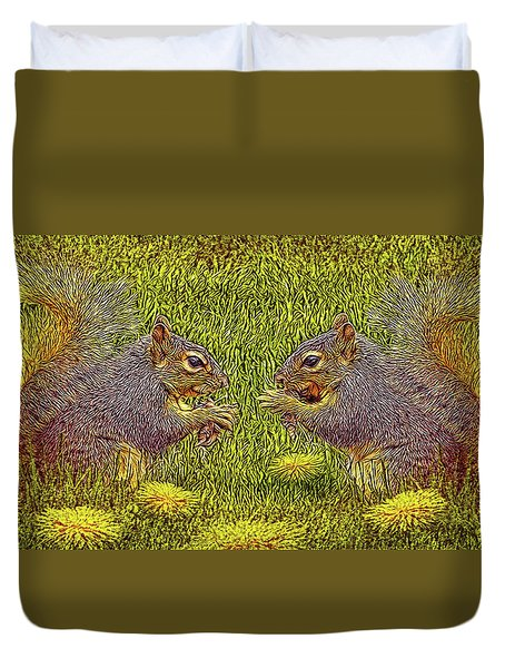 Tale Of Two Squirrels Duvet Cover