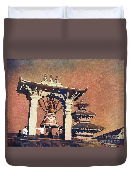 Duvet Cover featuring the painting Taleju Bell- Patan, Nepal by Ryan Fox