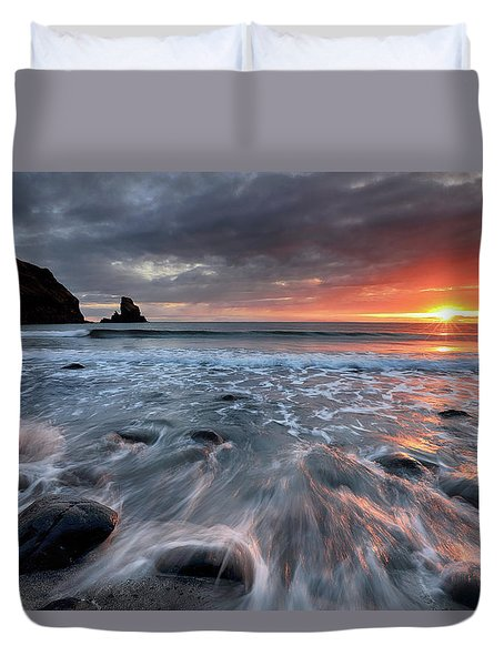 Duvet Cover featuring the photograph Talisker Bay Rocky Sunset by Grant Glendinning