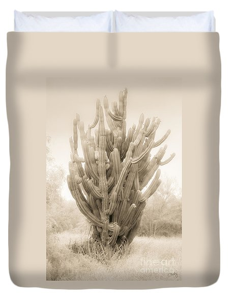 Tall Cactus In Sepia Duvet Cover