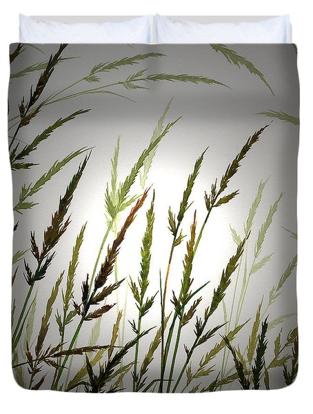 Duvet Cover featuring the digital art Tall Grass And Sunlight by James Williamson