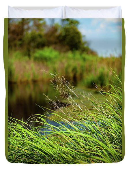 Tall Grass At Boat Dock Duvet Cover