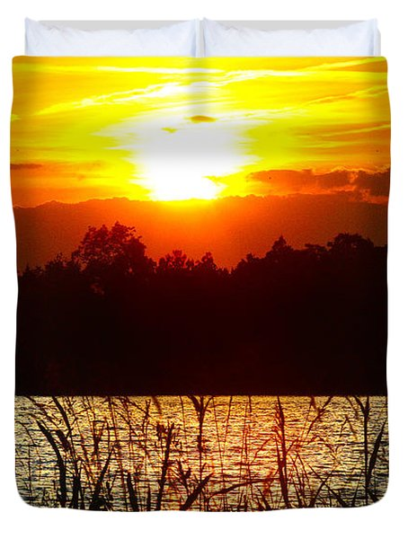 Tall Grass Sunset 2 Smith Mountain Lake Duvet Cover
