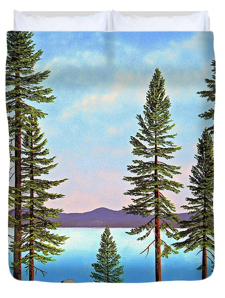 Tall Pines Of Lake Tahoe Duvet Cover