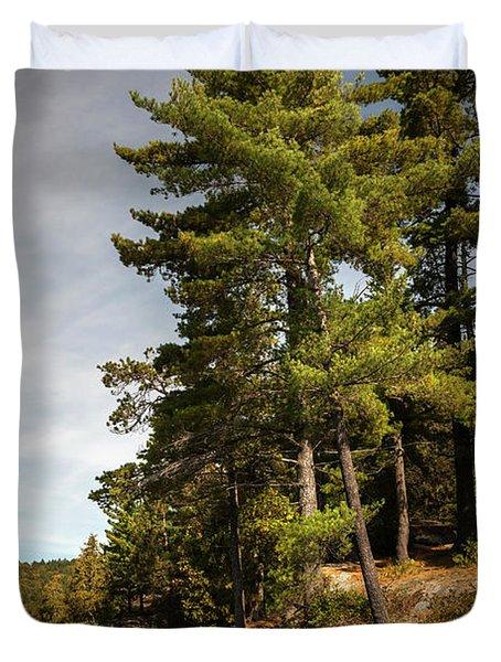 Tall Pines On Lake Shore Duvet Cover