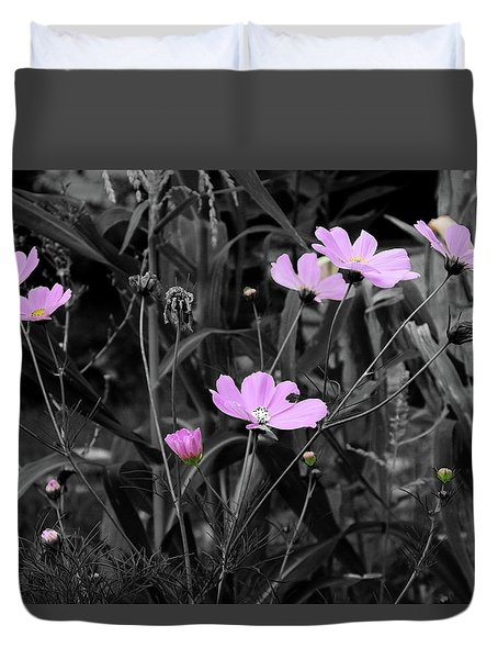 Tall Pink Poppies Duvet Cover
