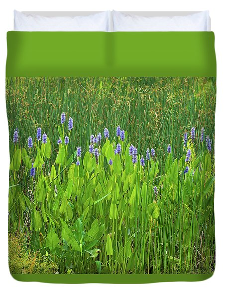 Tall Purple And Blue Blooming Flowers Duvet Cover