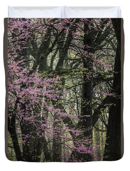 Tall Red Buds In Spring Duvet Cover by Joni Eskridge