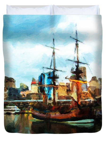 Duvet Cover featuring the painting Tall Ship Darling Harbour by Chris Armytage