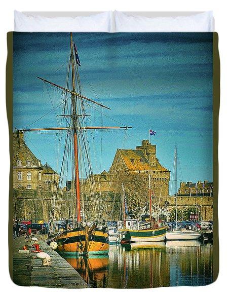 Tall Ship In Saint Malo Duvet Cover