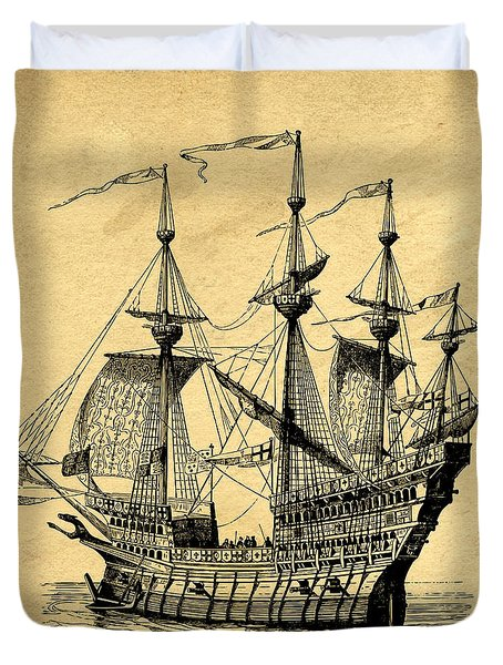 Duvet Cover featuring the drawing Tall Ship Vintage by Edward Fielding