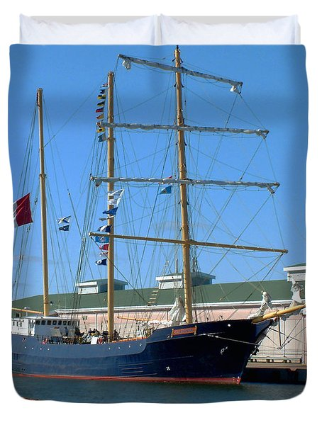 Duvet Cover featuring the photograph Tall Ship Waiting by RC DeWinter