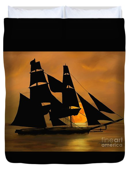 Tall Ship With A Harvest Moon Duvet Cover