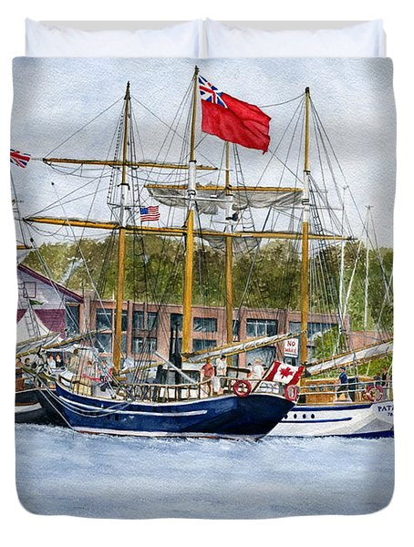 Duvet Cover featuring the painting Tall Ships Festival by Melly Terpening