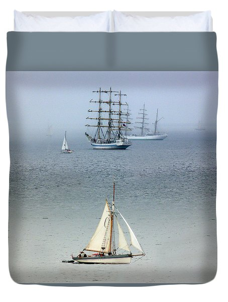 Duvet Cover featuring the photograph Tall Ships In The Mist by Lynn Bolt