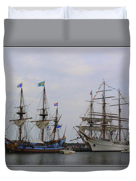 Historic Tall Ships Hermione And Sagres Duvet Cover